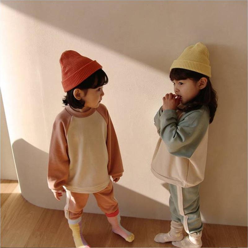韓国風子供服 韓国ファッション 可愛い トップス 男女兼用 カラーバリシャツ&パンツセット セットアップ