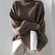 2021年秋冬 レーディス服 韓国風ファッション 無地 セーター 暖かい
