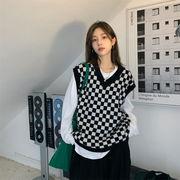 【2021INS 新作】初秋 活気 ゆったり 体型カバー ホワイトTシャツ+黒白チェック ニットベスト