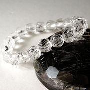 <ローズ>彫刻水晶(10mm)ブレスレット