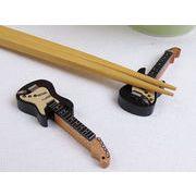 【木だから優しいね】 音楽好きには垂涎モノ エレキギターの木製箸置