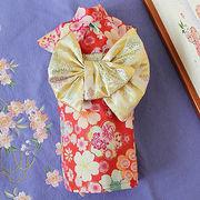 日本製  セレブスタイル  高品質ペットウェア 犬服の着物花もよう赤  SS/S/M/MD-M/L