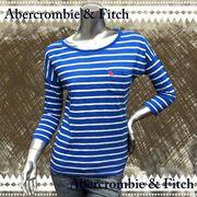 正規品【Abercrombie&Fitch】アバクロ★七分袖★ボーダー★インナー★ロンTee★ブルー