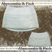 正規品【Abercrombie&Fitch】アバクロ★ツイード★レース★ミニスカート★ブルー