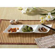 【強化】 3連前菜皿/変形皿  おうちカフェ/フレンチ皿/白食器