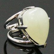 《大きめストーン:フリーサイズ ファッションリング指輪/ファランジリング》 ニュージェイド(New Jade)