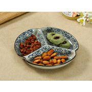 【強化】 7.5号三つ仕切り皿(青い花集い)    おうち料亭/中皿/大皿/丸皿/和食器