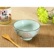 【強化】 4.5号ご飯茶碗(赤い大輪薔薇)    おうち料亭/茶碗/お茶漬け/ごはん茶碗/