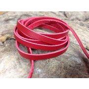 【クラフト 素材】牛革 本革 革紐 赤色 幅5mm 厚さ1.2mm 90~100cm