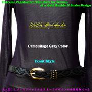 大人気モデル!ゴールドバックル&スネークデザインの女性用細ベルト