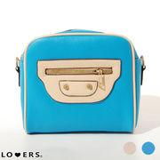 スクエア ショルダーバッグ【即納】ポシェット 斜めがけ バッグ 鞄 シンプル 配色 カラー レディース