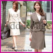 【A1-SS】ストレッチ七分袖ジャケットAラインスカートスーツ(j5009)