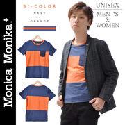 Monica Monika+ コットン100% TEE バイカラーユニセックスTシャツ