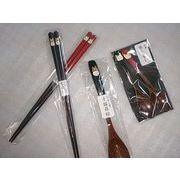 伝統の会津漆器店の箸とスプーン 猫とフクロウ 手描き
