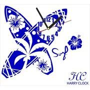 HARRY CLOCK ウォールステッカー 時計付き サーフボード (surfboard) ネイビーブルー 約45×45cm
