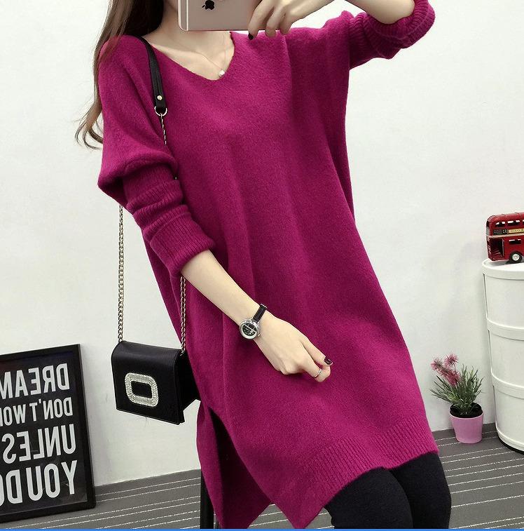 【大きいサイズXL-3XL】ファッションセーター♪ローズピンク/ブルー/ブラック3色展開◆