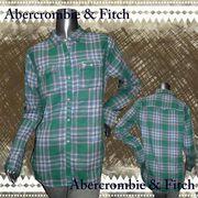 正規品【Abercrombie&Fitch】アバクロンビーアンドフィッチー★ロゴ刺繍★長袖★ネルシャツ グリーン