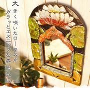 ゴールドペイント壁掛けロータスミラー【型番号2ba1-3】
