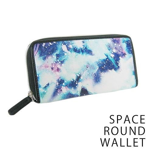 財布 長財布 スペース柄 ファスナー ラウンドウォレット 宇宙柄 男女兼用 キーズ Keys