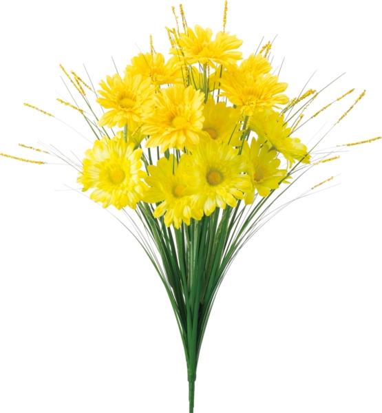 ポピー 造花 仏花 グラスガーベラブッシュ 全長47cm・花径7.5cm イエロー