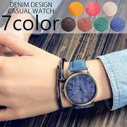 アンティーク加工 デニム風デザインのシンプル3針カジュアルウォッチ レディース メンズ腕時計 SPST011