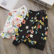 春服 新しいデザイン 韓国風 女児 フラワーズ プリント 丸襟 ヘッジ セーター 小中児