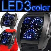 スピードメーター風LEDデジタル腕時計 タコメーター トリプルカレンダーウォッチ メンズ腕時計  LED003
