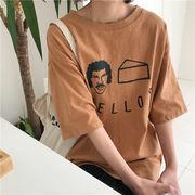 春服 女性服 新しいデザイン 韓国風 ルース 何でも似合う 漫画 プリント 丸襟 半袖T