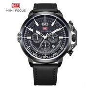 送料無料 MINIFOCUSメンズ クロノグラフカレンダー腕時計MF-164