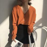韓国風 夏 新しいデザイン ルース 着やせ 何でも似合う 襟 ブレステッド 単一色 長袖