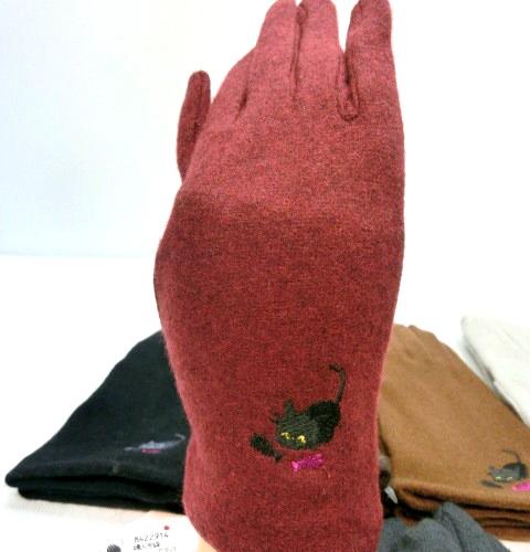 【手袋】【婦人用】婦人アンゴラ混ネコ・サカナ刺繍手袋