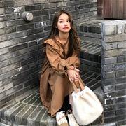 韓国 スタイル 秋 冬 ファッション 心地良い 無地 中長スタイル ゆったり ワンピ