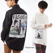 ビッグシャツ メンズ ロング丈 ビッグシルエット ビッグサイズ 大きい 長袖シャツ バックプリント 黒 白