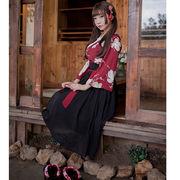【即日出荷】黒いスカート  着物ドレス  浴衣 コスプレ衣装 【3035】