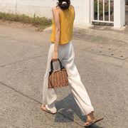 夏 新しいデザイン ネット レッド プリーツ 九分パンツ 女 韓国風 ワイドパンツ 着や