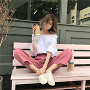 韓国ファッション INS熱い販売  上下セット 2点セット ボートネック ワイドパンツ バギーパンツ 無地
