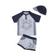 格安!INS子供◆3T-4T-5T-6T-7T選択◆セパレート水着◆ストライプ◆チエック柄◆蟹 帽子+シャツ+パンツ