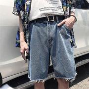 品質改善 高品質新入庫 サマー ジーンズ メンズ ストレートパンツ 百掛け ワイドレッグパンツ