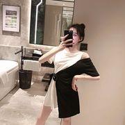 2色 夏★最強の新作★韓国ファッション可愛 レディース 切り替え 半袖 ワンピース Tシャツ