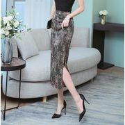 膝丈スカートシフォンスカート OL オフィススカート 花柄 通勤 ペンシルスカートサンドレス
