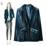 レディースアウター3色 長袖 小さなスーツ 收腰 気質 スリム 着痩せ ゴールドベルベット 高品質で 秋冬即納