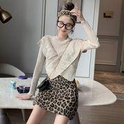 セット 女 折り畳む フリル デザイン 感 小さな襟 長袖セーター アンティーク調 ヒョ