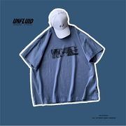 メンズ サマー ストリートスタイル 半袖 Tシャツ ブルー