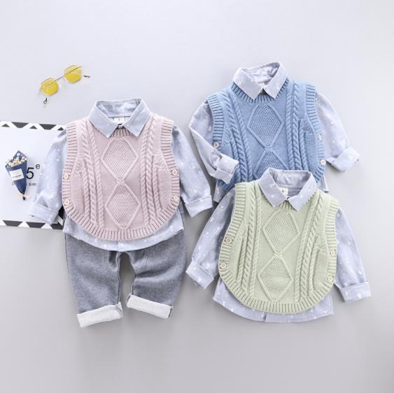 子供服 厚手 セットアップ シャツ+ベスト+パンツ 女の子/男の子 キッズ服 3点セット カジュアル系