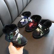 新しいデザイン 児童 スノー コットンブーツ 冬 厚さプラス 女児 ブーツ 男児 冬のブ
