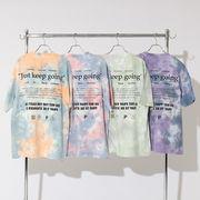 【2020春夏新作】ユニセックス パステルカラー タイダイ染め プリント BIG 半袖 Tシャツ
