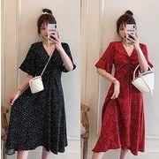 【大きいサイズL-4XL】ファッション/人気ワンピース♪アカ/ブラック2色展開◆
