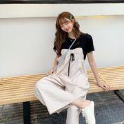 【Women】2021年新作 tシャツ&ゆったりサロペット 9分丈 カジュアル 可愛い