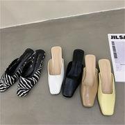 シンプルだから素材に拘る 韓国ファッション スリッパ トレンド ハーフドラッグ 百掛け  バオトウ