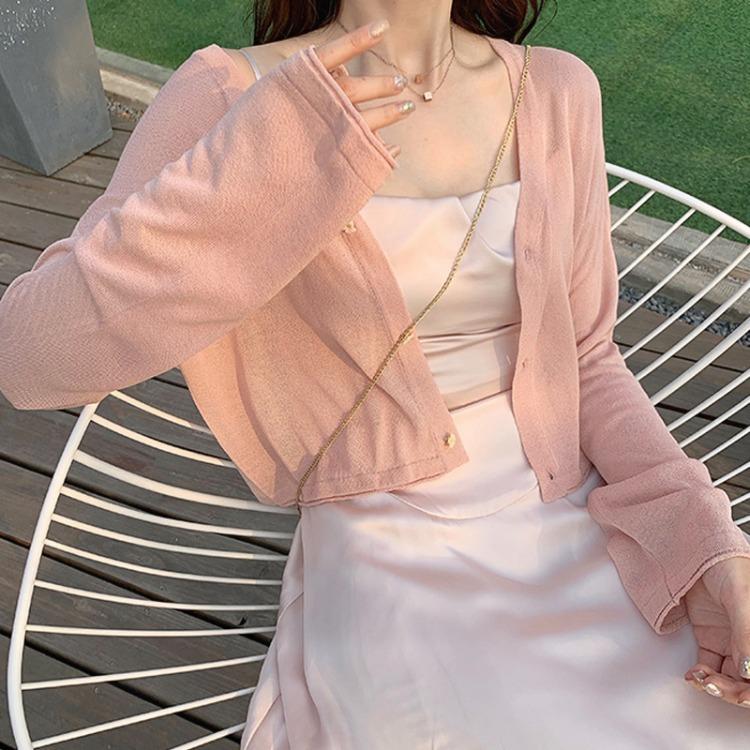 韓国ファッション 2021年春夏新作 トップス 日焼け防止服 セクシーカーディガン ブラウス